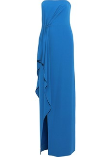 Halston Heritage Woman Strapless Draped Stretch-crepe Gown Cobalt Blue