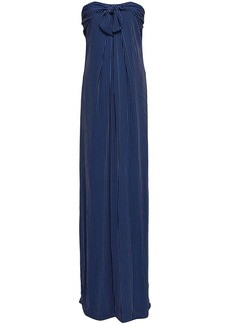 Halston Heritage Woman Strapless Knotted Striped Crepe Gown Navy