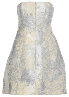 Halston Heritage Woman Strapless Metallic Jacquard Mini Dress Cream
