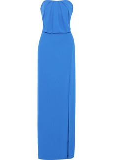 Halston Woman Strapless Split-front Crepe Gown Cobalt Blue