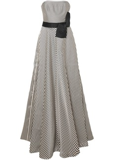 Halston Heritage Woman Strapless Striped Faille Gown Black
