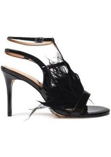 Halston Heritage Woman Tasha Feather-embellished Patent-leather Sandals Black