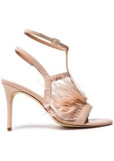 Halston Heritage Woman Tasha Feather-embellished Patent-leather Sandals Blush