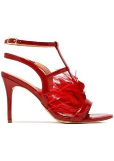 Halston Heritage Woman Tasha Feather-embellished Patent-leather Sandals Claret