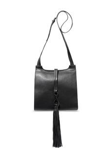 Halston Heritage Woman Christie Tasseled Pebbled-leather Shoulder Bag Black
