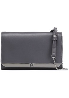 Halston Heritage Woman Textured-leather Clutch Anthracite