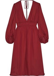 Halston Woman Tie-back Gathered Crepe De Chine Dress Claret