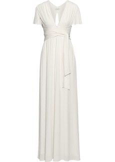 Halston Heritage Woman Split-front Stretch-jersey Gown Ivory