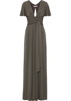 Halston Heritage Woman Split-front Stretch-jersey Gown Leaf Green