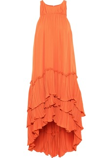 Halston Heritage Woman Tiered Plissé-paneled Crepe De Chine Dress Orange