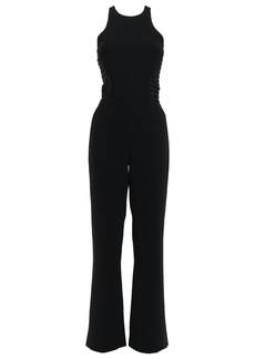 Halston Heritage Woman Tulle And Satin-trimmed Crepe Wide-leg Jumpsuit Black