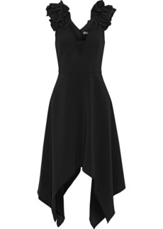 Halston Heritage Woman Tulle-paneled Ruffled Crepe Dress Black