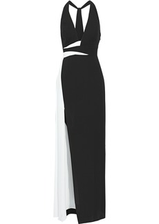 Halston Heritage Woman Two-tone Crepe Gown Black