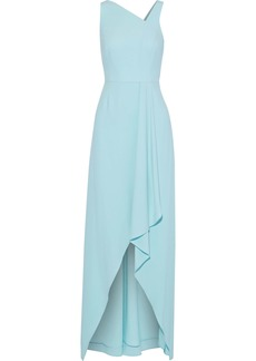 Halston Heritage Woman Draped Crepe Gown Turquoise