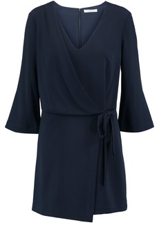 Halston Heritage Woman Wrap-effect Crepe Mini Dress Midnight Blue