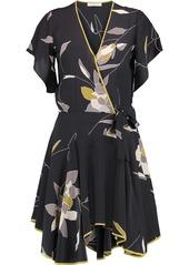 Halston Heritage Woman Wrap-effect Floral-print Silk Crepe De Chine Mini Dress Black