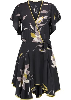 Halston Heritage Woman Wrap-effect Floral-print Silk Crepe De Chine Mini Dress Black