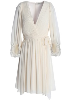 Halston Heritage Woman Wrap-effect Pleated Chiffon Dress Cream