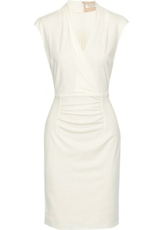 Halston Heritage Woman Ruched Wool-jersey Dress Cream