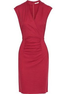 Halston Heritage Woman Wrap-effect Ruched Wool Dress Crimson