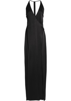 Halston Heritage Woman Wrap-effect Crepe Gown Black