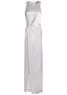 Halston Heritage Woman Wrap-effect Satin-crepe Gown Light Gray
