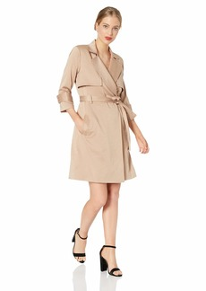 Halston Heritage Women's 3/4 Sleeve Satin Trench Shirtdress  Extra Large