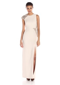 Halston Heritage Women's Asymmetric Sleeve Round Neck Gown with 3D Palette Embroidery
