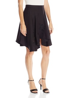 Halston Heritage Women's Asymmetrical Flounce Skirt with Embroidery