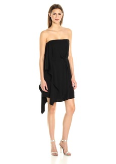 Halston Heritage Women's Asymmetrical Off The Shoulder Sleeve Flowy Dress