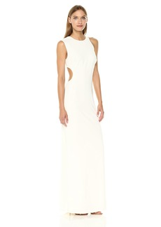 Halston Heritage Women's Asymmetrical Sleeve Round Crepe Gown with Back Cut Out