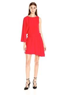 HALSTON HERITAGE Women's Asymmetrical Sleeve Round Neck Flowy Dress