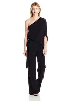 Halston Heritage Women's Asymmetrical Sleeve Wide Leg Jumpsuit with Tie