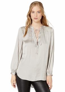 Halston Heritage Women's Blouson Sleeve V Neck Flowy top  S