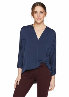 Halston Heritage Women's Bracelet Sleeve V Neck Flowy Silk Georgette Top