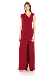 Halston Heritage Women's Cap Sleeve Assymetrical V Neck Crepe Gown with Slit