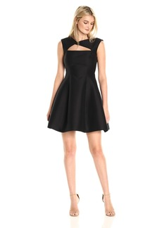 Halston Heritage Women's Cap Sleeve Asymmetrical V Neck Dress with Geometric Cut Out