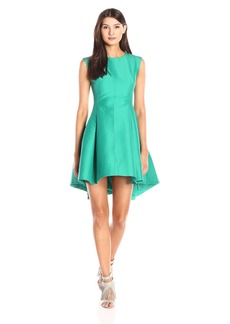 Halston Heritage Women's Cap Sleeve Boat Neck Faille Dress with Back Keyhole Clover