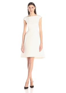 HALSTON HERITAGE Women's Cap Sleeve Boatneck Faille Dress with Back Cut Out