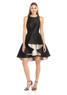 Halston Heritage Women's Cap Sleeve Color Blocked Dress With Dramatic Skirt Black/Champagne