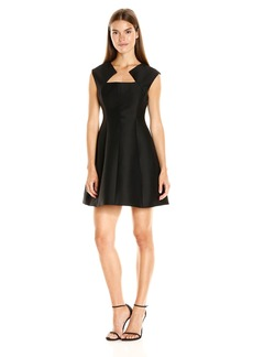 Halston Heritage Women's Cap Sleeve Geo Neck Structured Dress