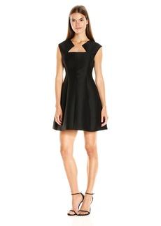 HALSTON HERITAGE Women's Cap Sleeve Geo Neck Structured Dress