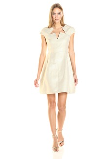 Halston Heritage Women's Cap Sleeve Notch Neck Shimmer Cocktail Dress