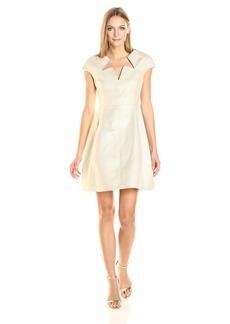Halston Heritage Women's Cap Sleeve Notch Neck Shimmer Cocktail Dress