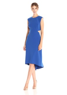 Halston Heritage Women's Cap Sleeve Round Neck Dress with Back Cut Out