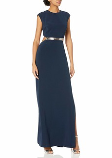 Halston Heritage Women's Cap Sleeve Round Neck Gown with Metallic Leather Detail