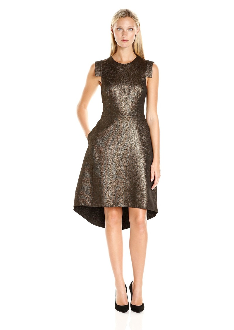 Halston Heritage Women's Cap Sleeve Round Neck Metallic Jacquard Dress