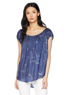 Halston Heritage Women's Cap Sleeve Ruched Scoop Neck Top  Extra Small