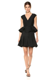 Halston Heritage Women's Cap Sleeve V Neck Dress with Peplum
