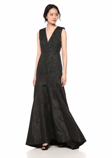Halston Heritage Women's Cap Sleeve V Neck Metallic Jacquard Gown Black